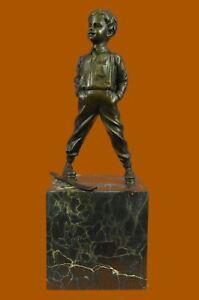 Signed:Milo Bronze Sculpture skier men skiiing snow ski sports Statue Figurine