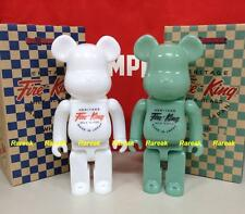 Medicom Be@rbrick Fire King 400% Milk Glass White & Jade Green Bearbrick Set 2pc