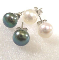 Stud Earrings Authentic Round Freshwater Pearl 925 Silver Black White Pink UK