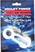 FC2 Valley Forge Set/2 White Nylon Flag Snap Clips Prevents Clanging on Pole NEW