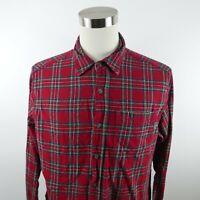 Eddie Bauer Mens Cotton LS Button Down Red Multi Color Plaid Flannel Shirt XL