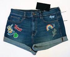 SP Black Label Women's Shorts Size Med Patch Cuffed Denim Jean Pineapple Rainbow