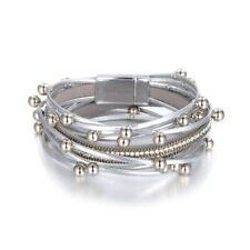 Fashion Leather Bracelet Multilayer Bracelets Rhinestone Magnet Buckle For