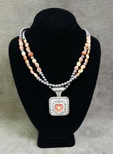 TRIGG LEATHER PENDANT AND NECKLACE - UT LONGHORNS BLING - UNIVERSITY OF TEXAS