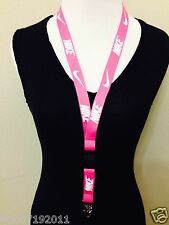 New! Nike Lanyard Hot Pink Keychain, ID Badge, cell phone hold Free USA shipping