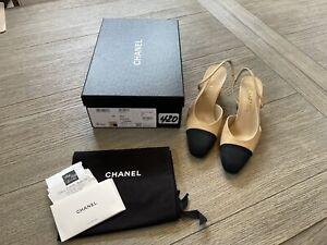 BNIB Chanel Beige And Black Goatskin Leather CC Heels Slingbacks Shoes Size 38