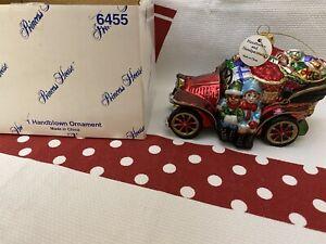 "6455 Princess House Handblown Handpainted Ornament ""Santas Magical Ride"" NIB HTF"