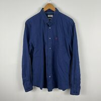 Marcs Mens Button Up Shirt XL Extra Large Blue Checkered Long Sleeve Collared