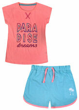 Girls Pyjama Set T-shirt and Shorts Kids 2 Psc PJs Age 8 9 10 11 12 13 14 Years