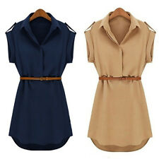 Summer Womens Casual Cap Sleeve Loose Chiffon T Shirt Top Blouse Dress with Belt