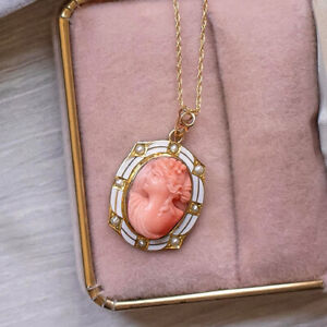 VINTAGE CORAL CAMEO PENDANT ENAMEL SEED PEARL YELLOW GOLD ART DECO NECKLACE PINK