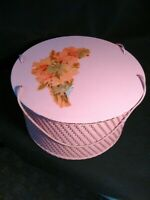 VTG Sewing Basket Princess Wicker 1940 Pink Round Hat Box Style Box Decals VGC