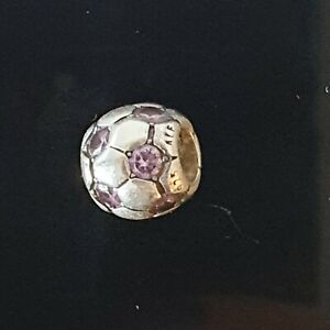 Pandora Purple Cubic Zirconia Soccer Ball Football Silver Charm 790444 Free Post