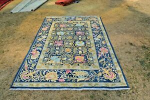 Beautiful Green with Blue Combination Floral Pattern Flower Design Washable Rug