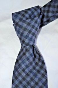 """$250 NWT TOM FORD Charcoal Blue Gingham check men's 3.25"""" woven WOOL tie Italy"""
