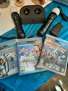 PlayStation 3 (PS3) Move Motion Controllers and Charger Base