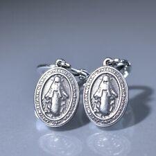 Silver stud stainless steel Miraculous Medal dangle drop Leverback earrings