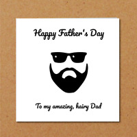 Beard Father's Day Card for bearded Dad - funny, humorous, amusing, fun - hairy