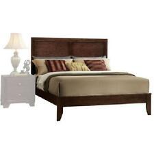 Espresso Queen Size Wood Platform Bed Frame Panel Headboard Bedroom Furniture US
