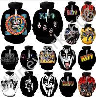Men Women 3D Print Kiss rock band Casual Hoodie Sweatshirt Jacket Pullover Tops