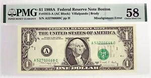 Series Of 1988 A $1 FRN Boston Fr#1915-A Misalignment Error Note PMG Ch AU58