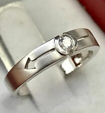 18k Solid white gold solitaire natural diamond band ring with arrow sand finish