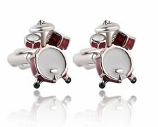 Quality Cufflinks 3D Drums Cuff links silver Colour Music Rock French Shirt