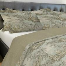 Carolina Linens Shams in Bosporus Flax Blue, Ivory, Green Renaissance Toile