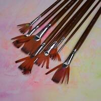 9 pcs/set Artmaster Artists Fan Brush Small, Medium B2Z5 Large Waterco B1Q2 F4O3