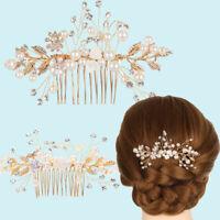 Party Gold Pearl Bridal Clips Bridesmaid Tiara Hair Combs Flower Hair Pin