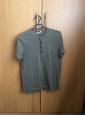 Mens Topman Grandad Button Khaki T Shirt Top - size Small