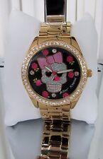 Betsey Johnson Floral Sugar Skull Bow Black Watch Crystals BJ00048-208 NWT