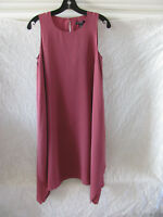 Eileen Fisher Silk Crepe de Chine Dress-Sharkbite Hem-Rosewood-Size PM- NWT $358