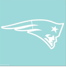 "NFL New England Patriots  White Primary Team Logo Die Cut Sticker Decal 8"" x 8"""
