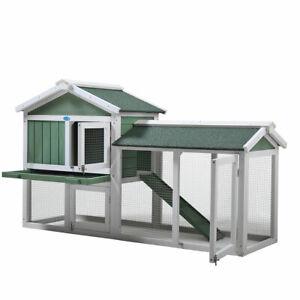 "58"" Wooden Rabbit Hutch Chicken Coop Pet House Bunny Cage w/Ramp Run Green&White"