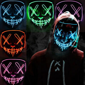 Halloween Mask LED Glow Light Up The Movie Costume Clubbing Party Purge 3 Modes