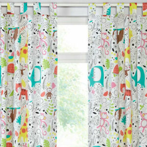 "JUNGLE FEVER CURTAINS 66 X 54"" TIGER ELEPHANT SLOTH KIDS CHILDREN CURTAINS"
