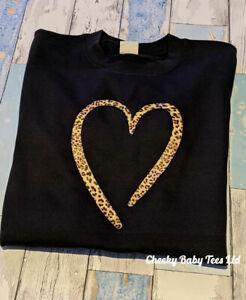 Leopard Print Heart Women's Ladies Sweatshirt Sweater Jumper up to size 20
