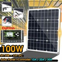 100W 18V Mono Solar Panel USB Battery Power Charger & Controller For Car RV Boat