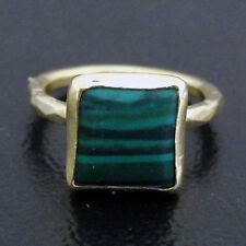 Handmade Hammered Square Malachite Ring Yellow Gold over 925K Sterling Silver