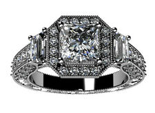2.21 ct Ladies Princess Cut Diamond Engagement Ring In Platinum