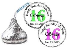 108 Happy Sweet 16 Birthday Hershey Kiss Stickers Labels Party Favors