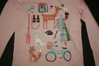 New Carter's Outside Tree Animals Sparkle Glitter Tee NWT 5t 6 7 8 Girls Top