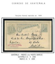 Guatemala: 1890; Postal Stationery used to Madrid via Puerto Barrios EBG087