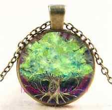 Vintage Celtic Tree Of Life Cabochon Glass Bronze Chain Pendant Necklace