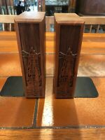 Vintage Pair of LaserCraft Solid Walnut Nautical Bookends, Ships Laser Engraved