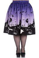 Hell Bunny Plus Size Purple Halloween Haunt Bats Pumpkin Gothic Skirt 2X 3X 4X