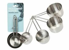 4 Measuring Cups Spoons Stainless Steel Baking Cooking Precision Measure Steel