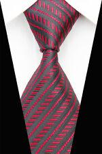 Negro Tejido 100% Puro Corbata De Seda con rayas rojas sólido & chocado diagonal