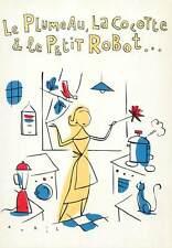 Postcard Advertising Plumeau cocotte petit robot kitchen cat woman